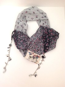 Blog grey with pink flowere scarf 4